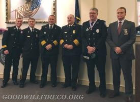 Firefighter Steve Crum with WCFD Chiefs and the Mayor of West Chester