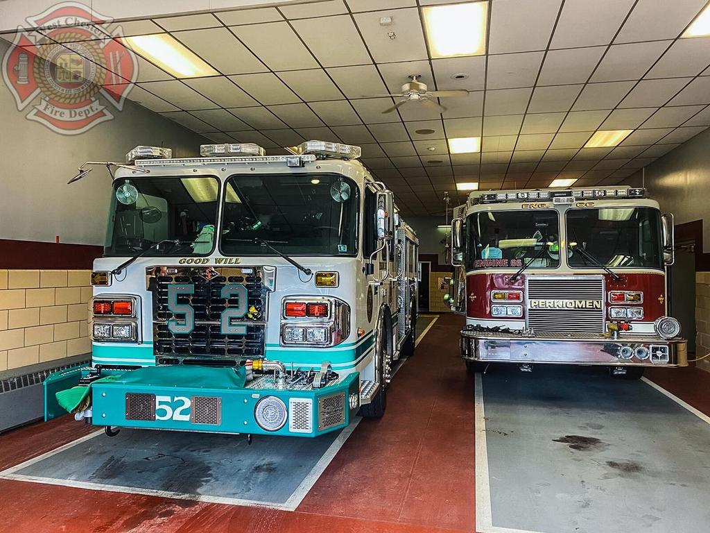 Engine 52-1(Capt P. Widmayer) relocating Phoenixville Fire Co. while they operate at a Working Fire.