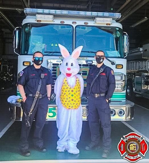 Engine 52-2 escorting the Easter Bunny